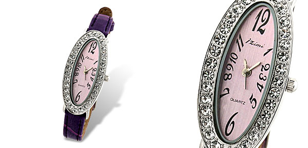 Rhinestone Ladies Oval Face Slim Leather Wrist Watch Purple