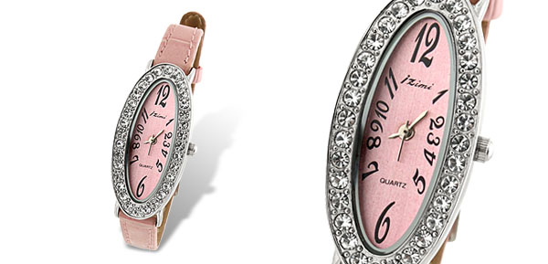Oval Face Rhinestone Ladies Slim Leather Wrist Watch Pink