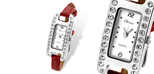 Women's Slim Red Leather Strap Fashion Quartz Wrist Watch