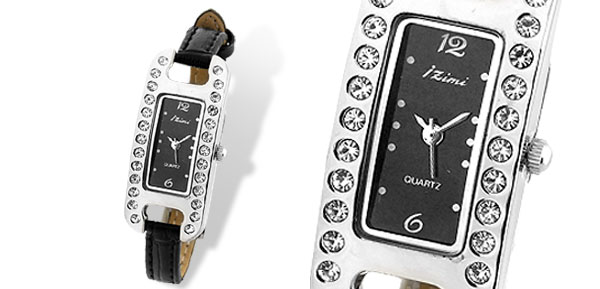 Fashion Women's Quartz Wrist Watch with Black Leather Strap