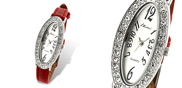 Slim Ladies Oval Face Leather Quartz Wrist Watch Red Strap