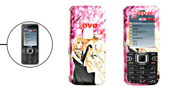 Pink Hard Plastic Case with Lovers Pattern for Nokia 6122 Classic