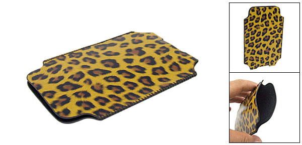 Slim Leopard Pattern Soft leather Sleeve Case Pouch for Apple iPhone 3G Yellow