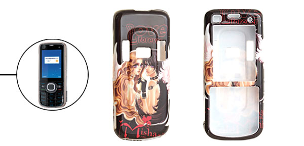 Black Hard Plastic Case with Cartoon Lovers Pattern for Nokia 6220 Classic