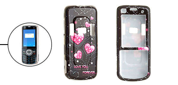 Hard Plastic Case with Pink Heart Pattern for Nokia 6220 Classic