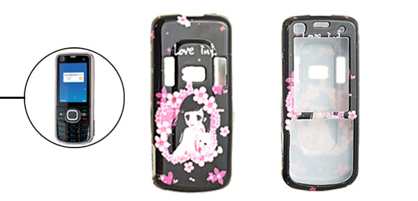 Black Hard Plastic Case with Lovely Girl Pattern for Nokia 6220 Classic