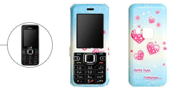 Skyblue Hard Plastic Case with Pink Heart Pattern for Nokia 6122 Classic