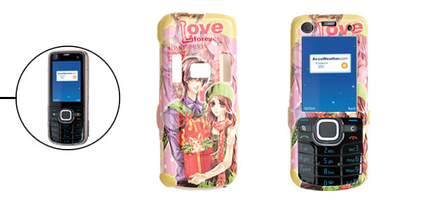 Colorful Hard Plastic Case with Cartoon Lovers Pattern for Nokia 6220 Classic