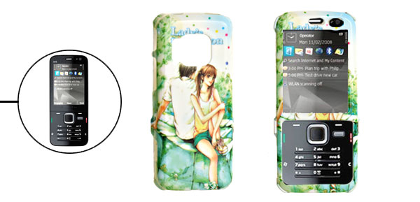 Grass Green Hard Plastic Case with Lovers Pattern for Nokia N78