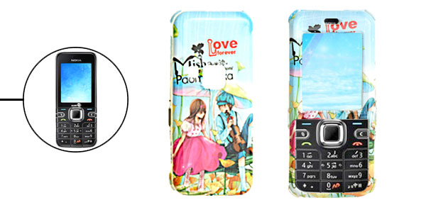 Hard Plastic Case with Cartoon Lovers Pattern for Nokia 6122 Classic