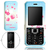 Skyblue Hard Plastic Case with Pink Heart Pattern for Nokia 6122 ...