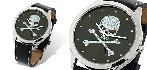 CZ Skull & Cross Bones Black Leather Men's Quartz Watch