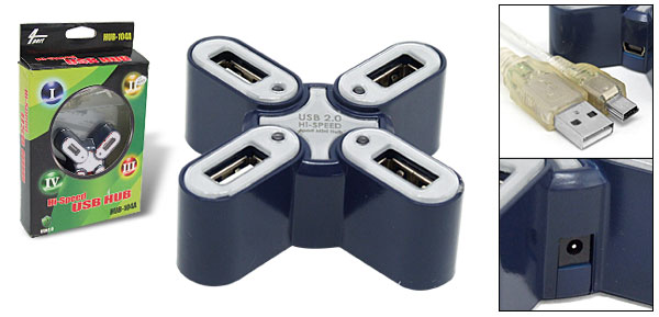 Mini 4 Port USB 2.0 Hub for Computer PC Laptop Notebook