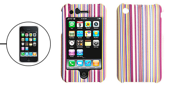 Hard Plastic Case with Colorful Stripe Pattern for Apple iPhone 3G