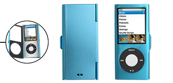 Put On Blue Aluminum Case for iPod Nano Chromatic 4th Generation