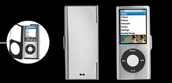 Silvery Put On Aluminum Case for iPod Nano Chromatic 4th Generation
