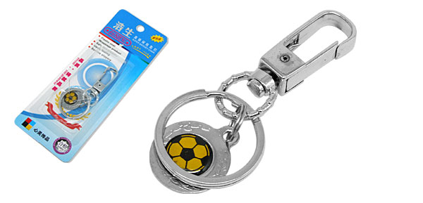 Mini Black & Yellow Soccer Football Metal Keychain Key Ring Chain Great Gift