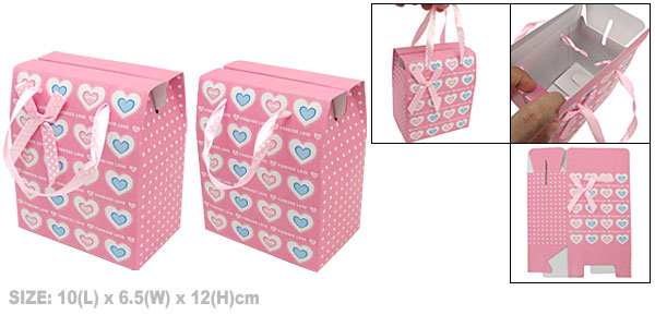 Pink Paper Box with Heart Pattern for Small Gift Party Favor
