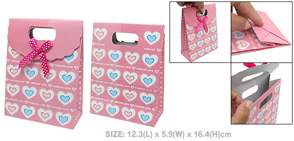 Heart Design Valentine Wedding Favor Pink Paper Gift Bag