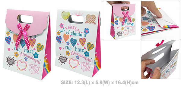 Valentine Wedding Party Favor Paper Gift Bag Heart Pattern