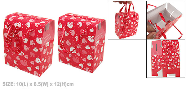Heart Design Red Valentine Gift Party Favor Paper Box Small