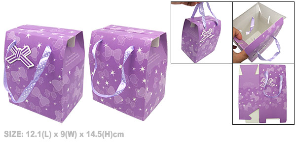 Purple Birthday Valentine Gift Party Favor Bowknot Paper Box