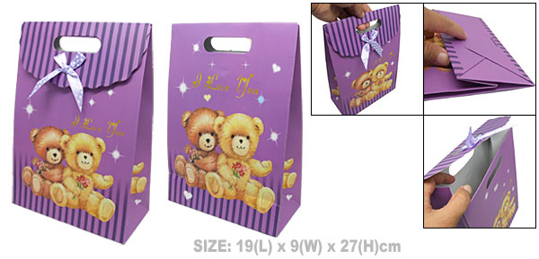 A Couple of Bear Valentine Gift Purple Paper Bag Medium