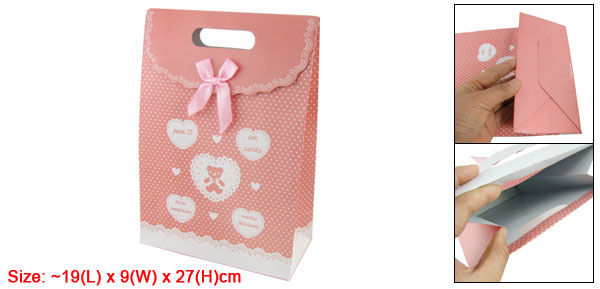 Sweet Love Valentine Gift Wedding Favor Medium Paper Bag Pink