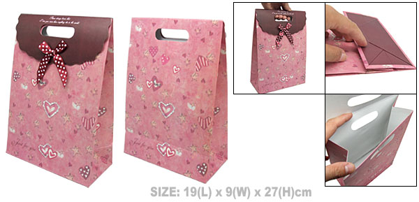 Medium Valentine Gift Paper Handle Bag with Heart Design