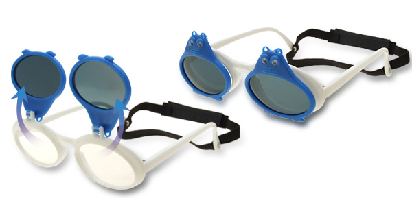 Blue Double Frogs White Flip-up Child Plastic Sunglasses w/ Black Velcro Head Strap