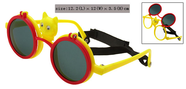 Red and Yellow Cat Flip-up Children Plastic Sunglass w/ Black Velcro Head Strap