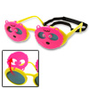 Pink and Yellow Bear Shape Children Fun Plastic Flip-up Sunglasses w/ Velcro Strap