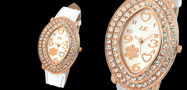 Golden Oval Face Ladies Leather Wrist Watch with White Strap