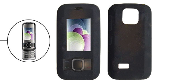 Black Silicone Skin Mobile Phone Case for Nokia 7610 Slide