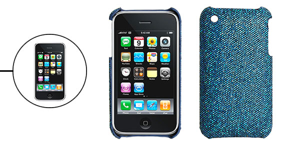Glittery Blue Hard Plastic Protective Back Case for iPhone 3G