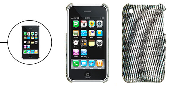 Silvery Protective Glittery Hard Plastic Back Case for iPhone 3G