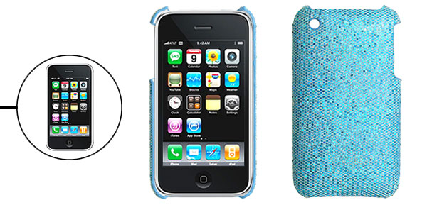 Lightblue Protective Glittery Hard Plastic Back Case for iPhone 3G