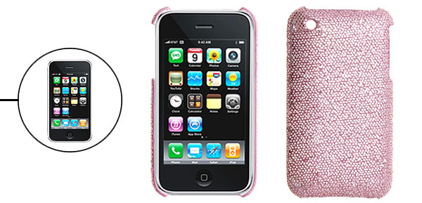 Pink Protective Glittery Hard Plastic Back Case for iPhone 3G