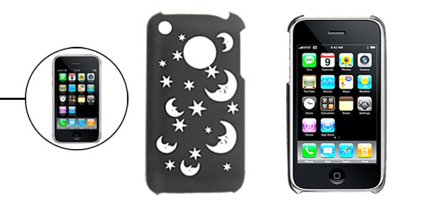 Hard Plastic Back Case Cover with Sculptural Moon Pattern for iPhone 3G