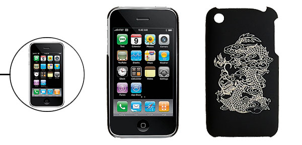 Plastic Back Case with Sculptural Dragon Pattern for iPhone 3G