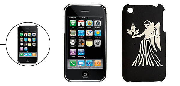 Virgo Pattern Hard Plastic Back Case for iPhone 3G Black