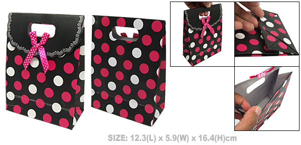 Black Paper Birthday Wedding Favor Gift Bag with Dots Design