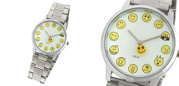 Steel Band Faces Icon Funny Girl's Wrist Watch