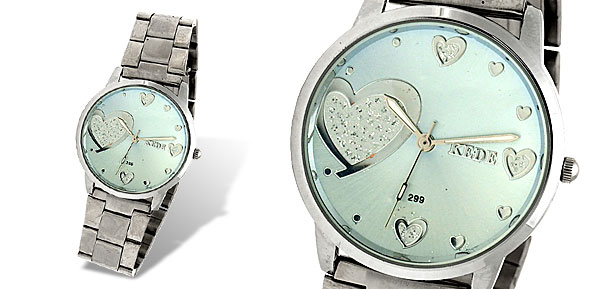 Steel Band Sweet Heart Blue Dial Woman's Fashion Watch