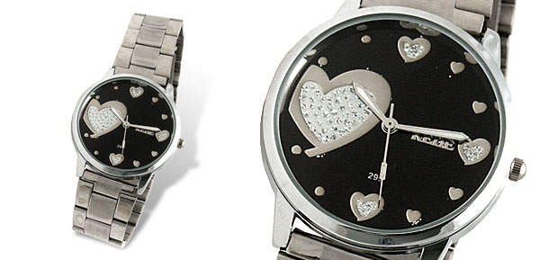 Sweet Heart Black Dial Woman's Steel Dress Watch