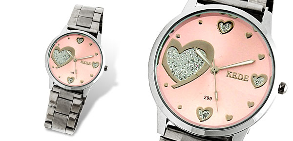 Pink Dial Sweet Heart Girl's Metal Dress Watch