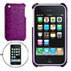 Purple Protective Glittery Hard Plastic Back Case for iPhone 3G