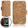 Peculiar Glittery Wooden-Color Wallet Style Case for iPhone 3G