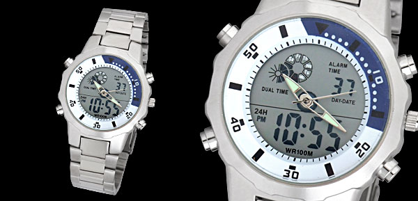 Metal Men's Dual Time Sports Digital Quartz Wrist Watch