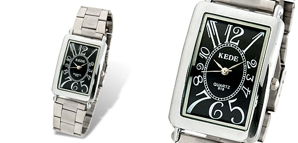 Steel Black Face Rectangular Men's Wrist Watch
